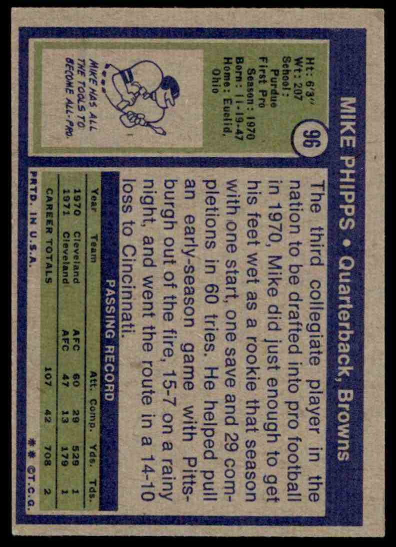 1972 Topps Mike Phipps #96 card back image
