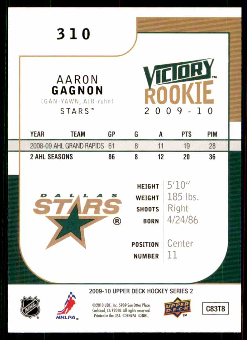 2009-10 Upper Deck Victory Rookie Aaron Gagnon #310 card back image
