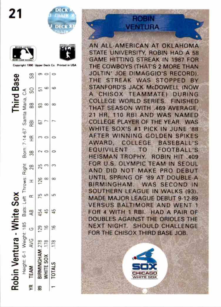 1990 Upper Deck Rookie Robin Ventura 21 On Kronozio