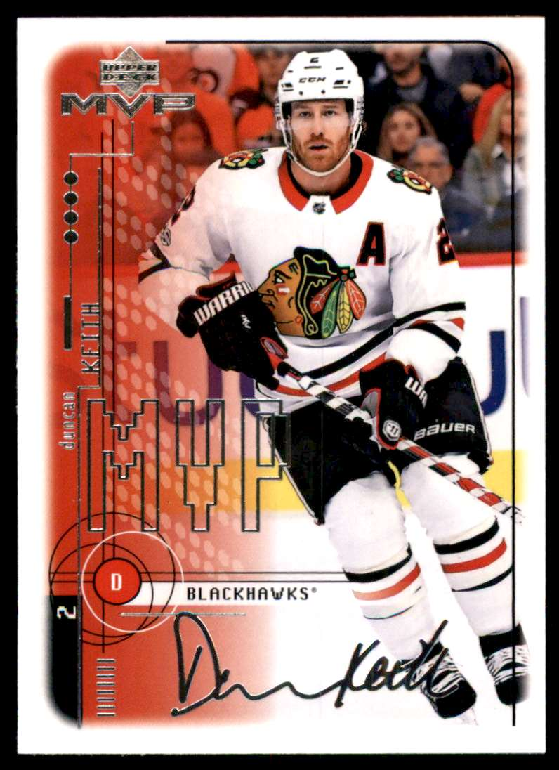 2018-19 Upper Deck MVP 20th Anniversary Tribute Silver Script Duncan Keith #71 card front image