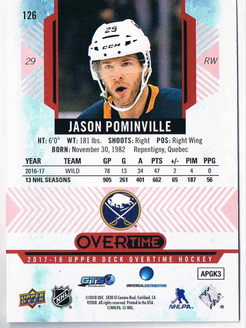 2017-18 Overtime Red Jason Pominville #126 card back image
