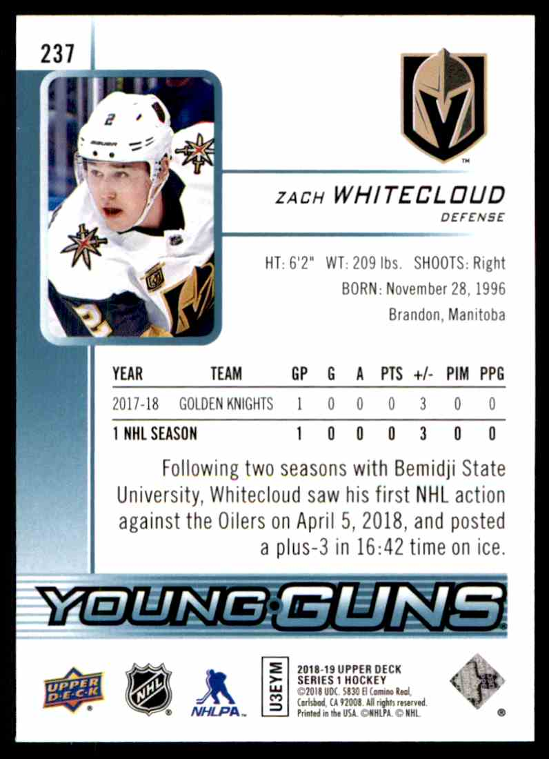 2018-19 Upper Deck Zach Whitecloud #237 card back image
