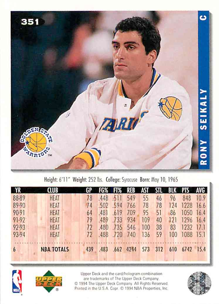 1994-95 Collector's Choice Rony Seikaly #351 card back image
