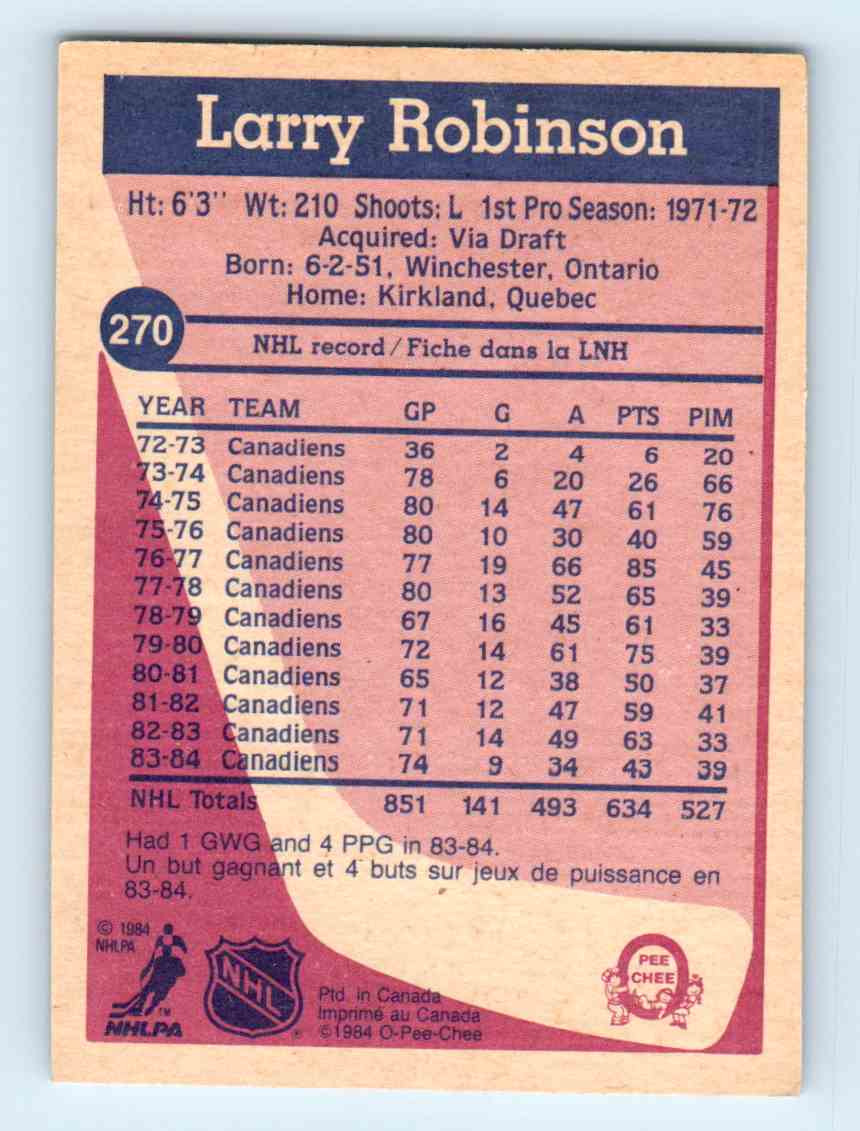 1984-85 O-Pee-Chee Larry Robinson #270 card back image