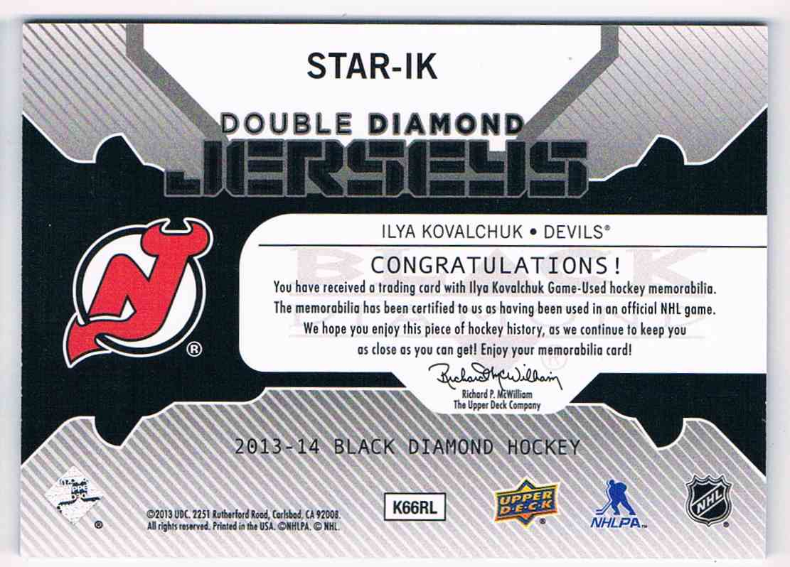2013-14 Upper Deck Black Diamond Double Jerseys Ilya Kovalchuk #STAR-IK card back image