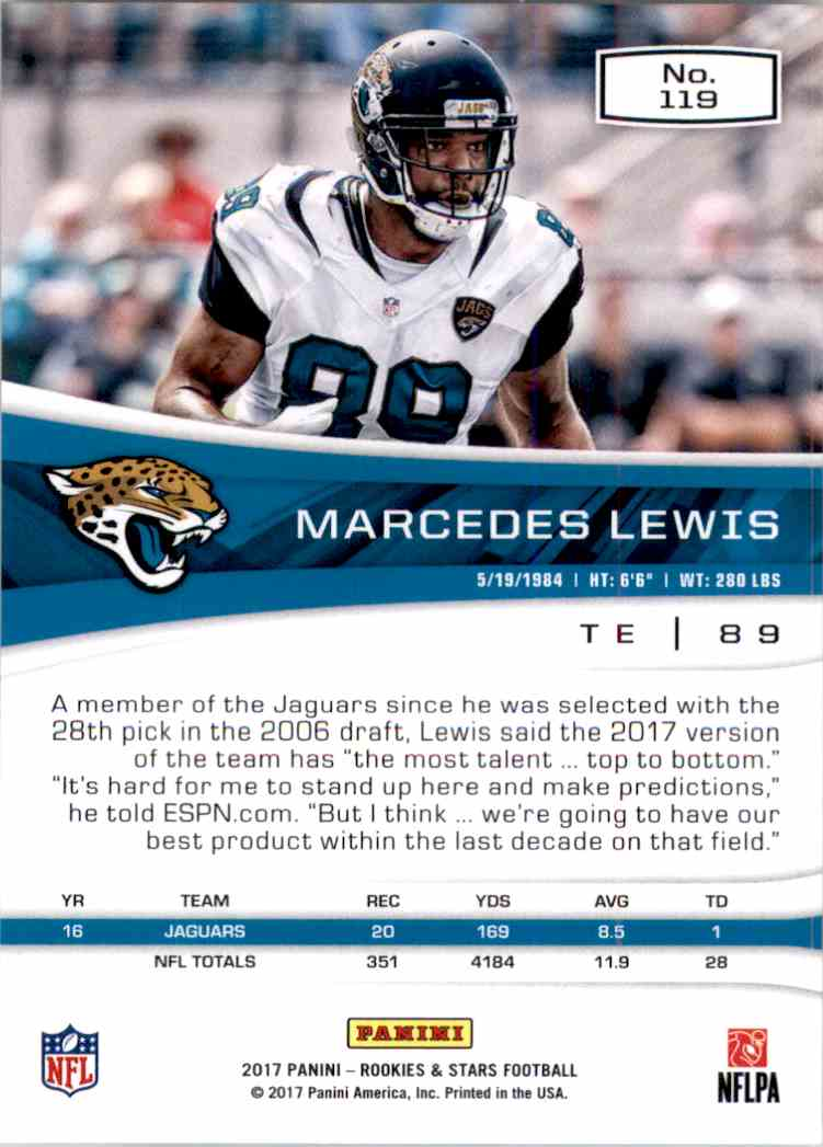 2017 Rookies And Stars Marcedes Lewis #119 card back image