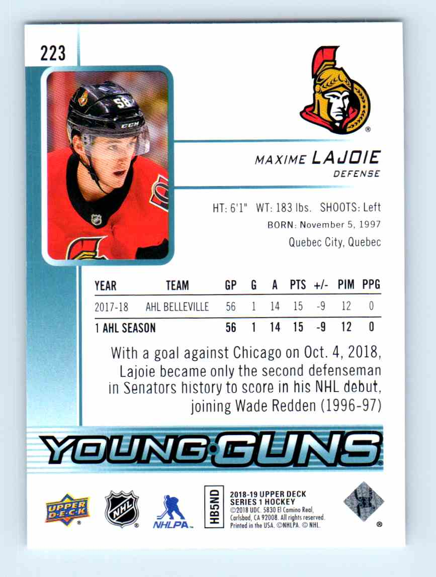 2018-19 Upper Deck Young Guns Maxime Lajoie #223 card back image