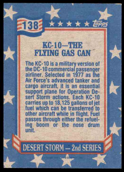 1991 Desert Storm Topps Kc-10 - The Flying Gas Can #138 card back image