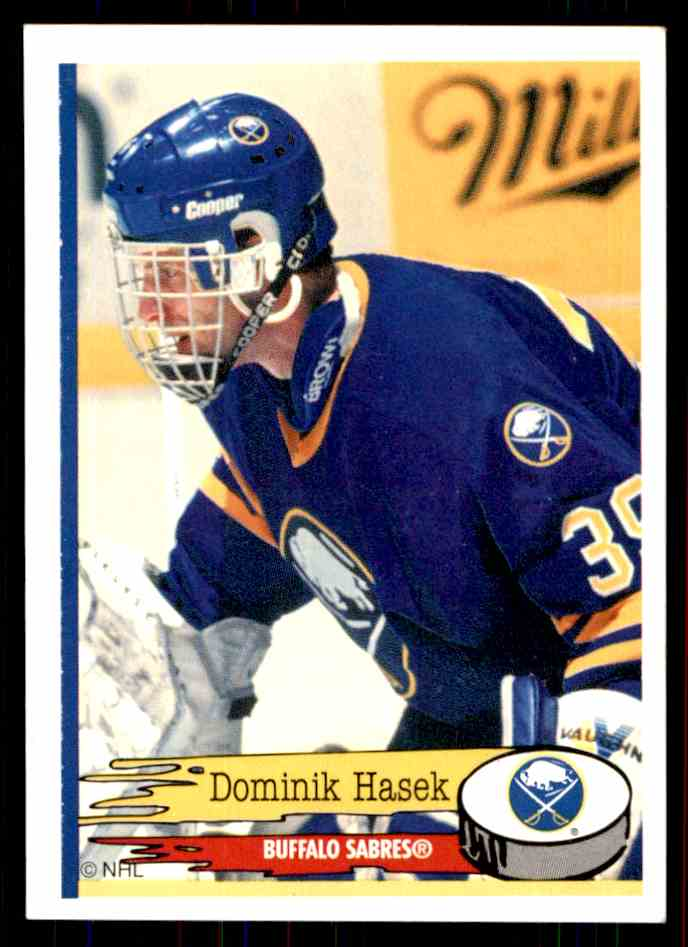 1995-96 Panini Stickers Dominik Hasek #154 card front image