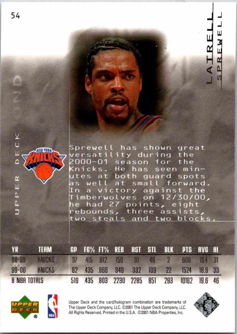 2000-01 Upper Deck Black Diamond Latrell Sprewell #54 card back image
