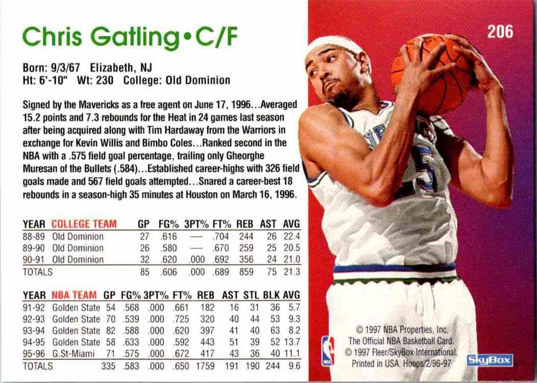 1997-98 NBA Hoops Chris Gatling #206 card back image
