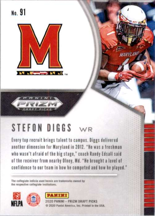2020 Panini Prizm Draft Picks Stefon Diggs #91 card back image