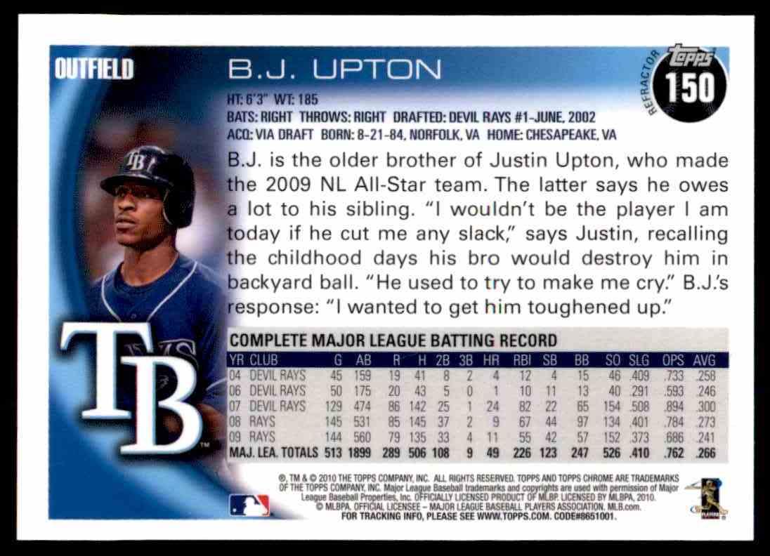 2010 Topps Chrome Refractors B.J. Upton #150 card back image