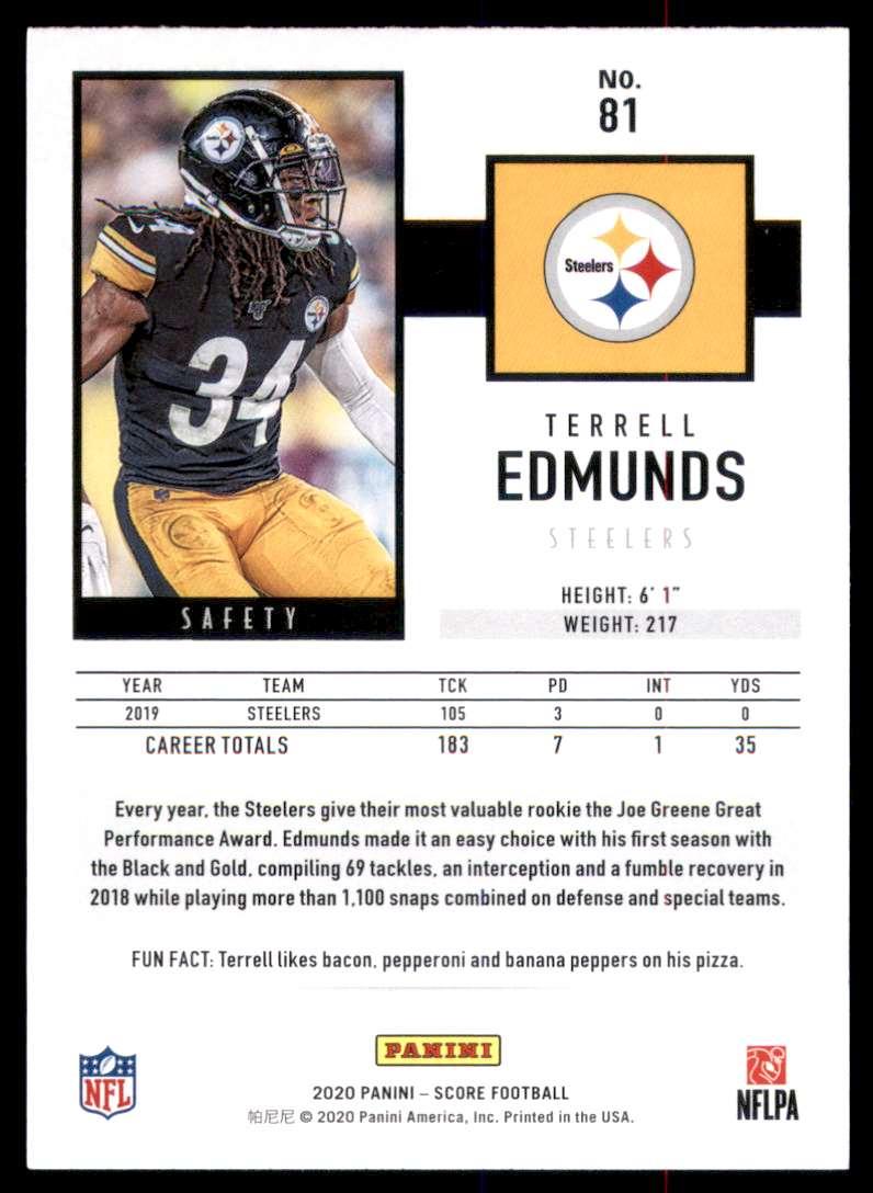 2020 Score Terrell Edmunds #81 card back image