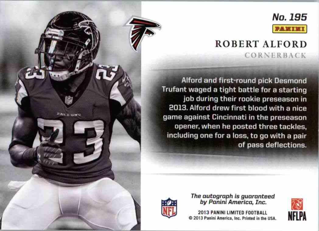 2013 Panini Limited Monikers Robert Alford #195 card back image