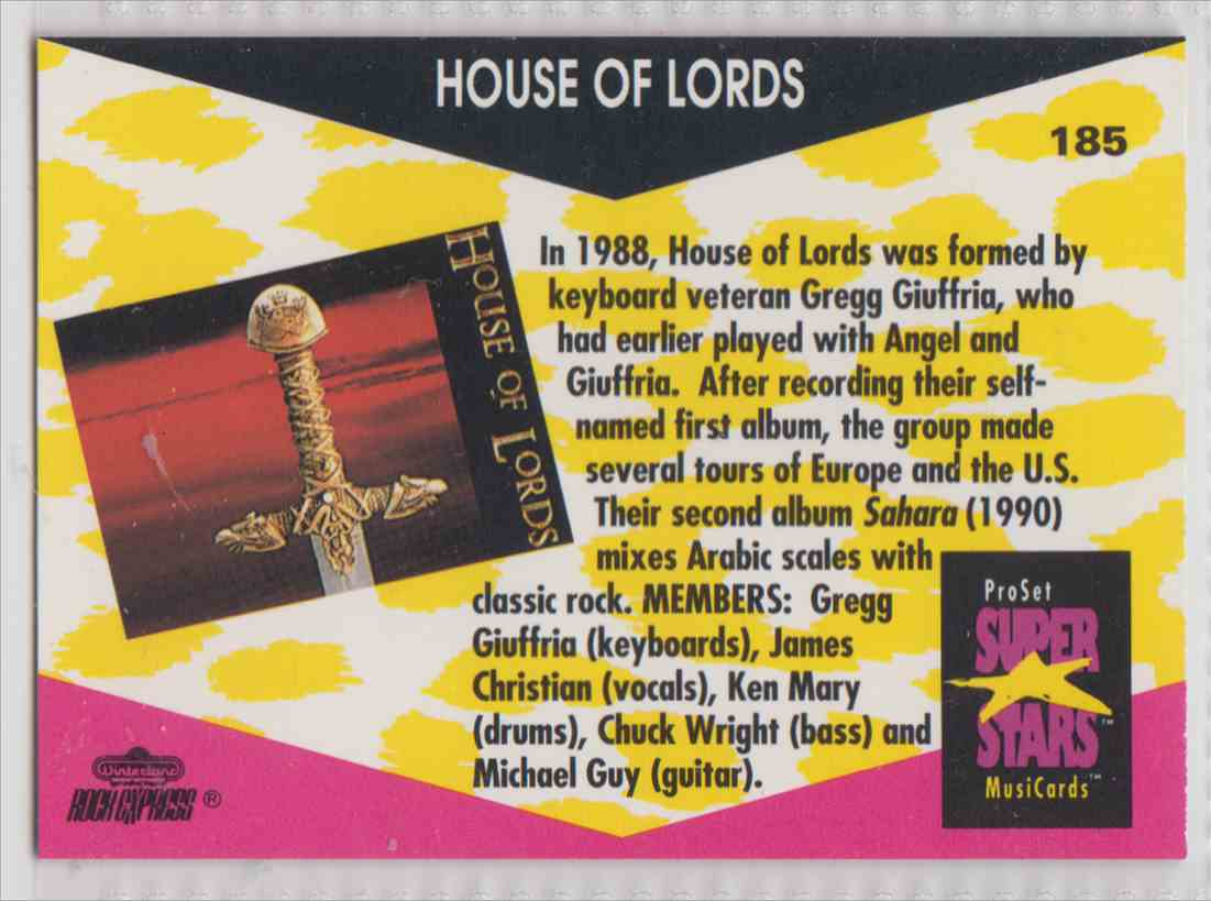1991 Pro Set SuperStars MusiCards House Of Lords #185 card back image