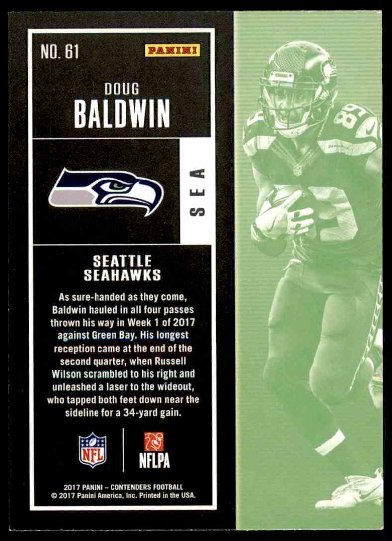 2017 Panini Contenders Doug Baldwin #61 card back image