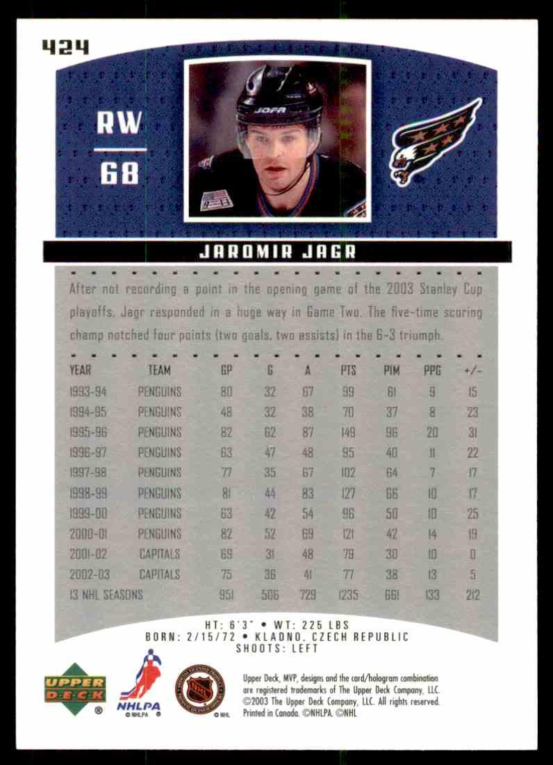 2003-04 Upper Deck MVP Jaromir Jagr #424 card back image