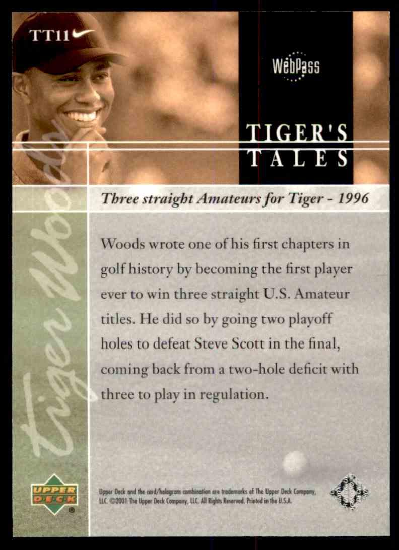 2001 Upper Deck Tiger's Tales Tiger Woods #TT11 card back image