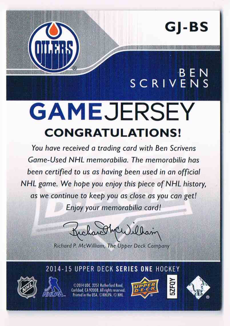 2014-15 Upper Deck Series One Ben Scrivens #GJ-BS card back image
