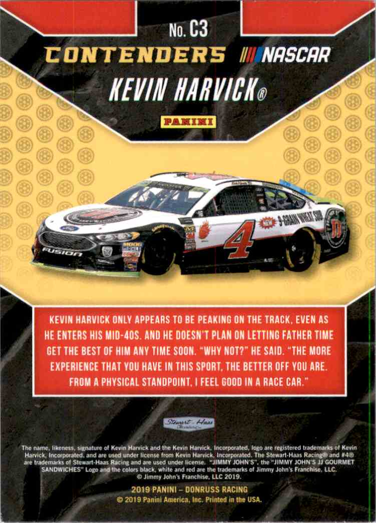2019 Donruss Contenders Kevin Harvick #C3 card back image