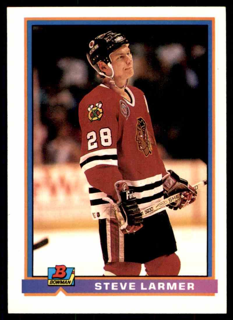 1991-92 Bowman Steve Larmer #395 card front image
