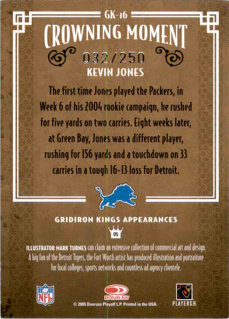 2005 Throwback Threads Gridiron Kings Silver Kevin Jones #GK16 card back image