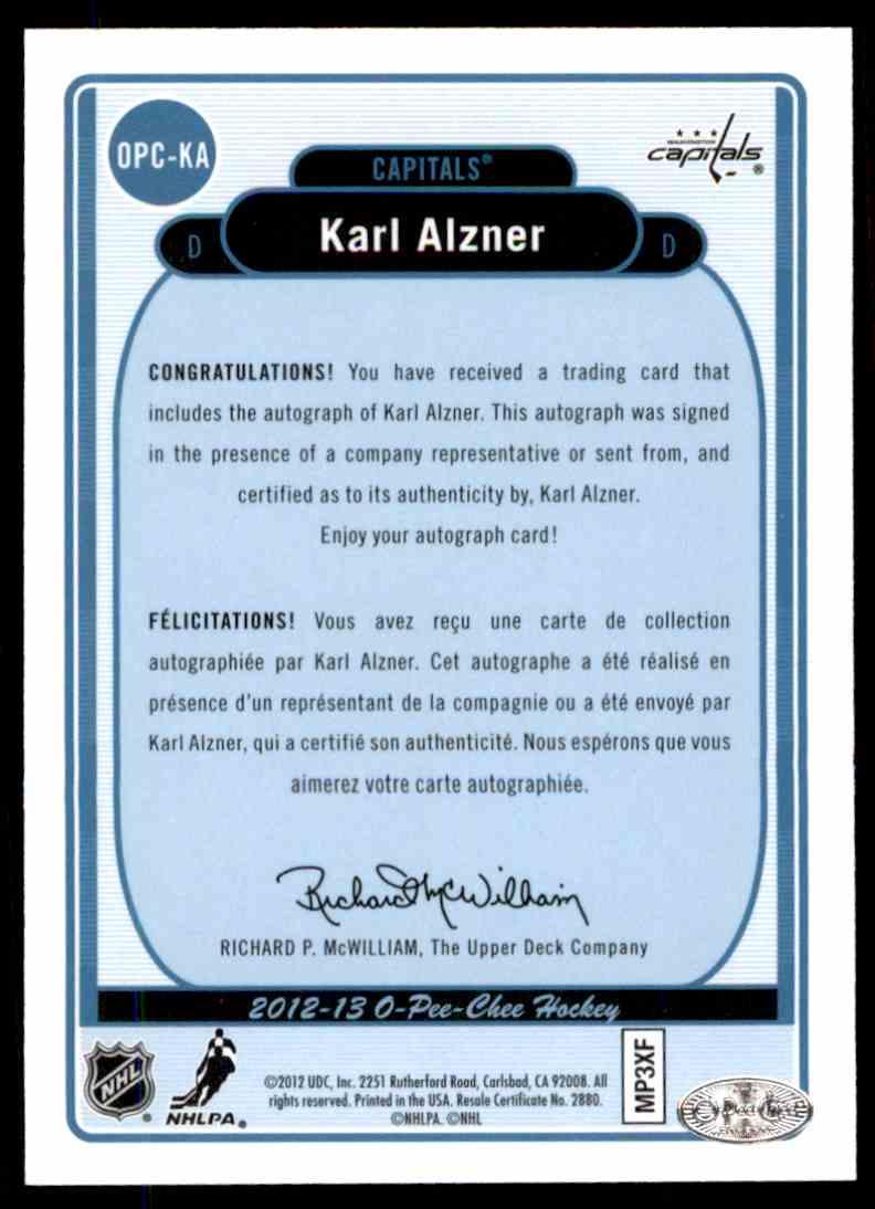 2012-13 Upper Deck O-Pee-Chee Signatures Karl Alzner #OPC-KA card back image