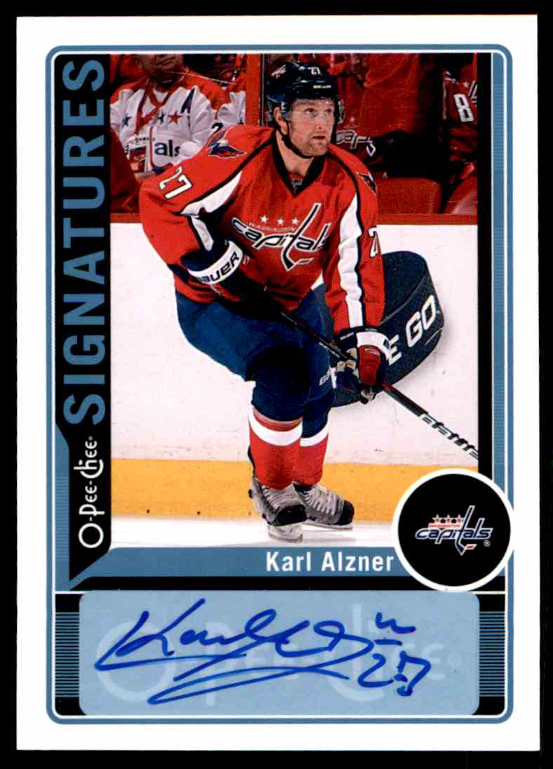 2012-13 Upper Deck O-Pee-Chee Signatures Karl Alzner #OPC-KA card front image