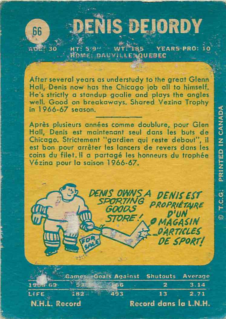 1969-70 Topps Denis Dejordy #66 card back image