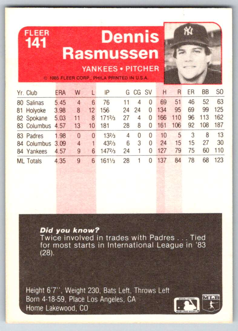 1985 Fleer Dennis Rasmussen #141 card back image