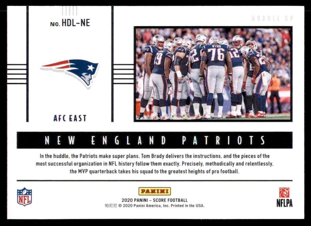 2020 Score Huddle Up New England Patriots #HDLNE card back image