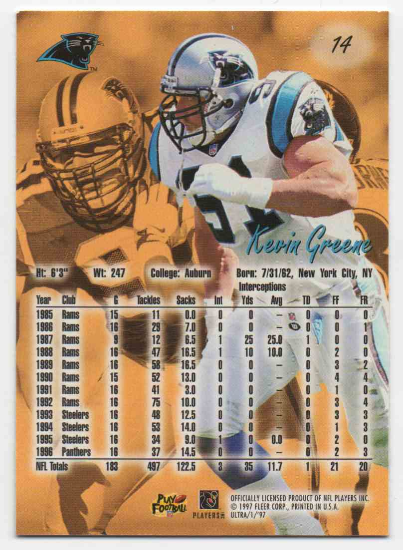 1997 Ultra Kevin Greene #14 card back image