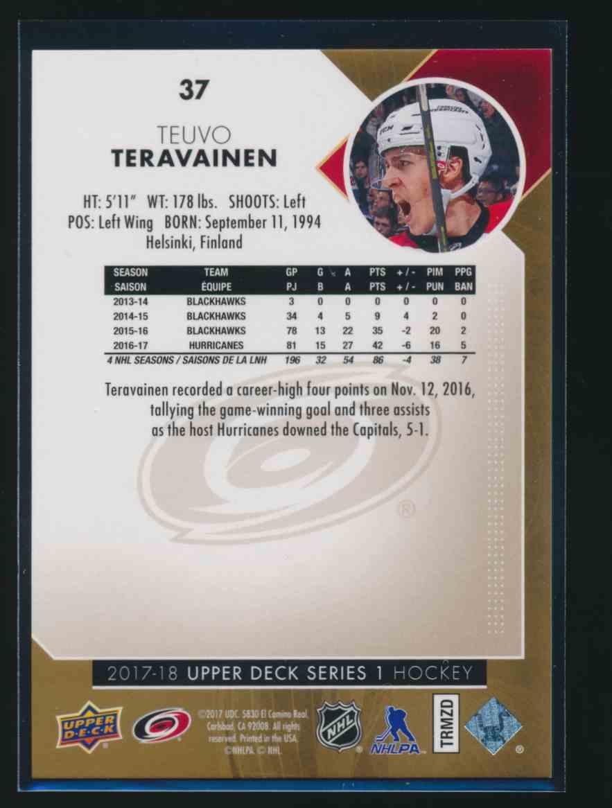 2017-18 Upper Deck High Gloss Teuvo Teravainen #37 card back image