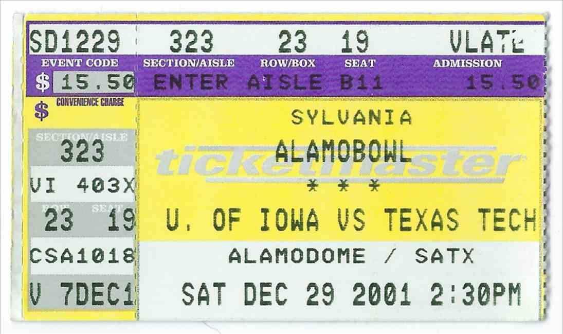 2001 College Football Ticket Stub Alamo Bowl - Iowa Vs Texas Tech card front image
