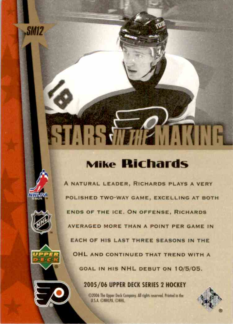 2005-06 Upper Deck Stars In The Making Mike Richards #SM12 card back image