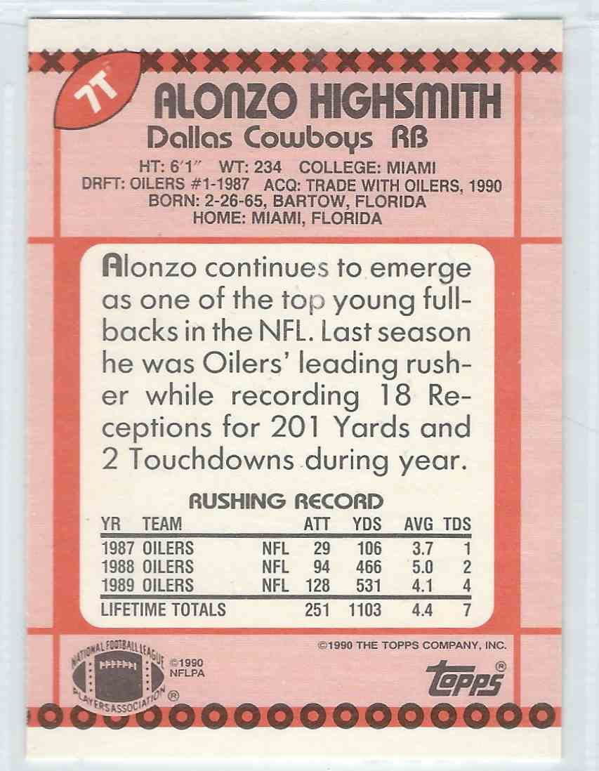 1990 Topps Traded Alonzo Highsmith #7T card back image