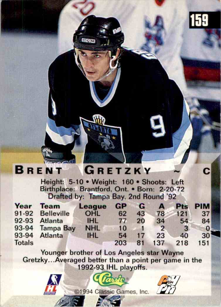1994-95 Classic Four Sport Brent Gretzky #159 card back image