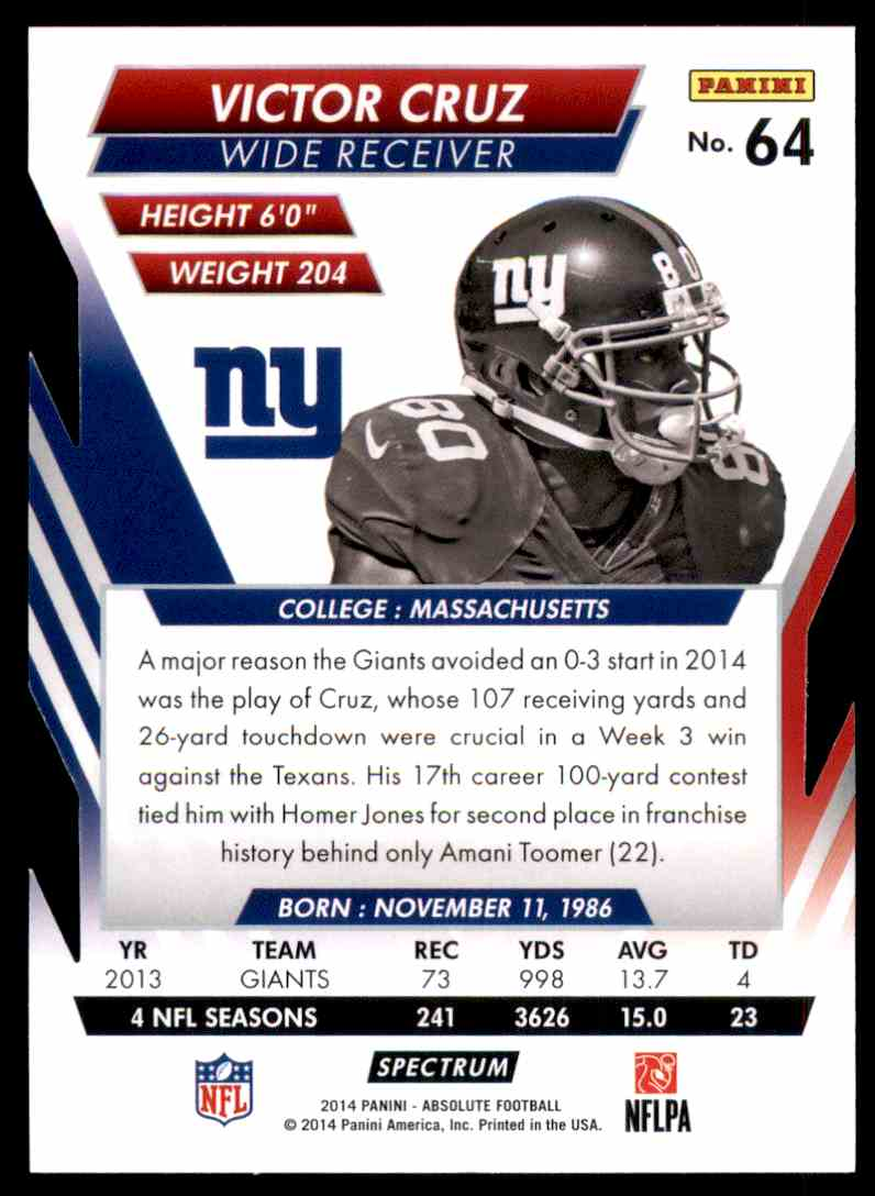 2014 Absolute Retail Red Victor Cruz #64 card back image