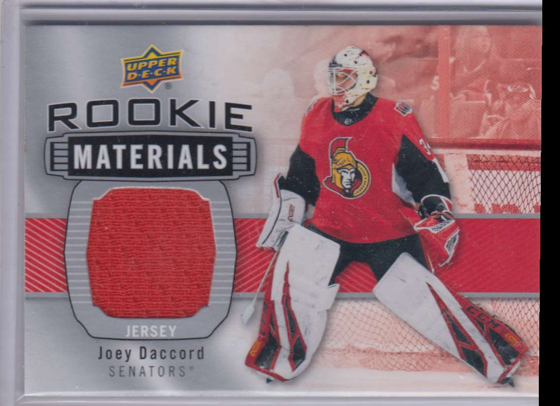 2019-20 Upper Deck Rookie Materials Joey Daccord #RM-JD card front image