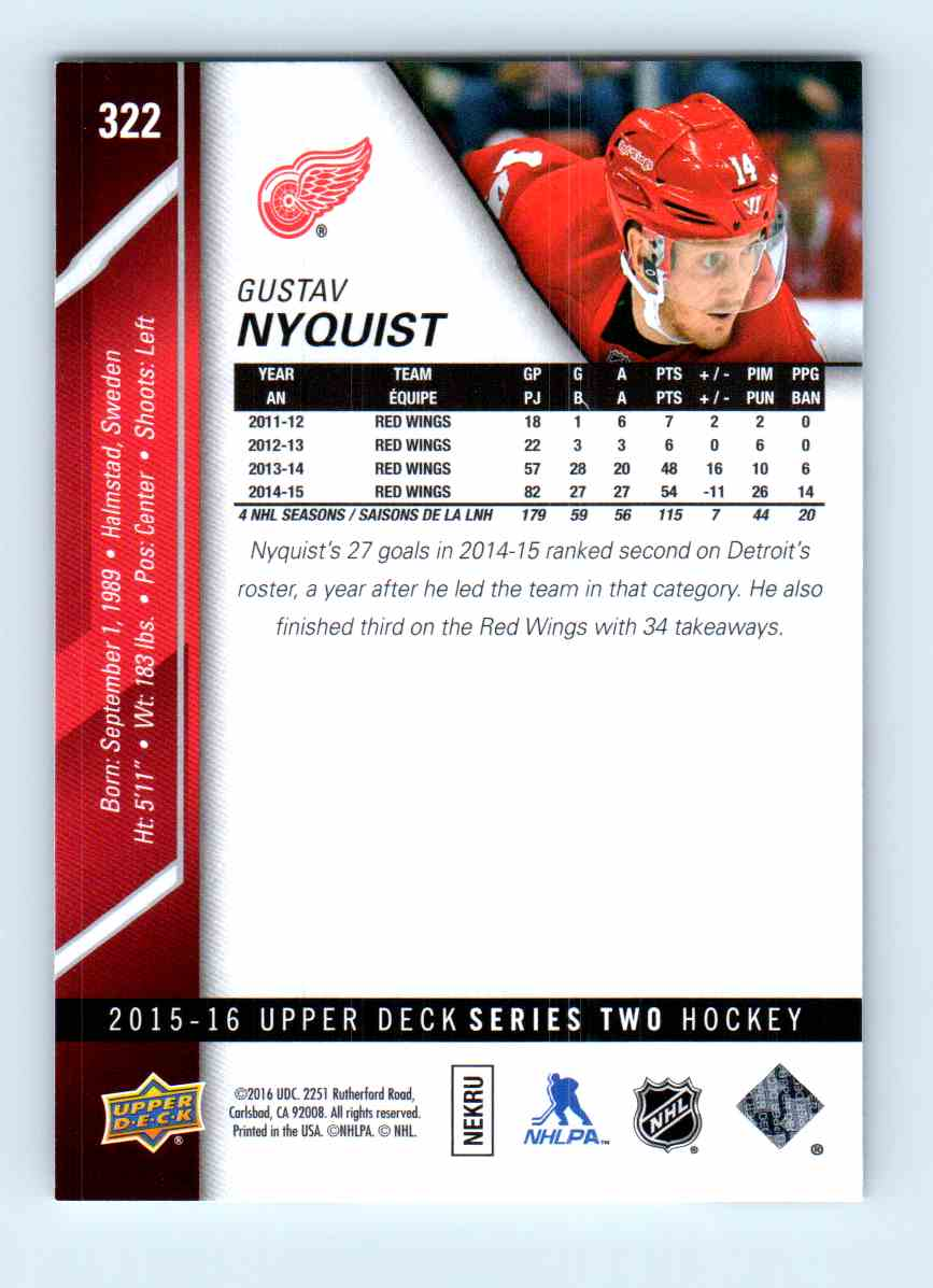 2015-16 Upper Deck Series Two Gustav Nyquist #322 card back image
