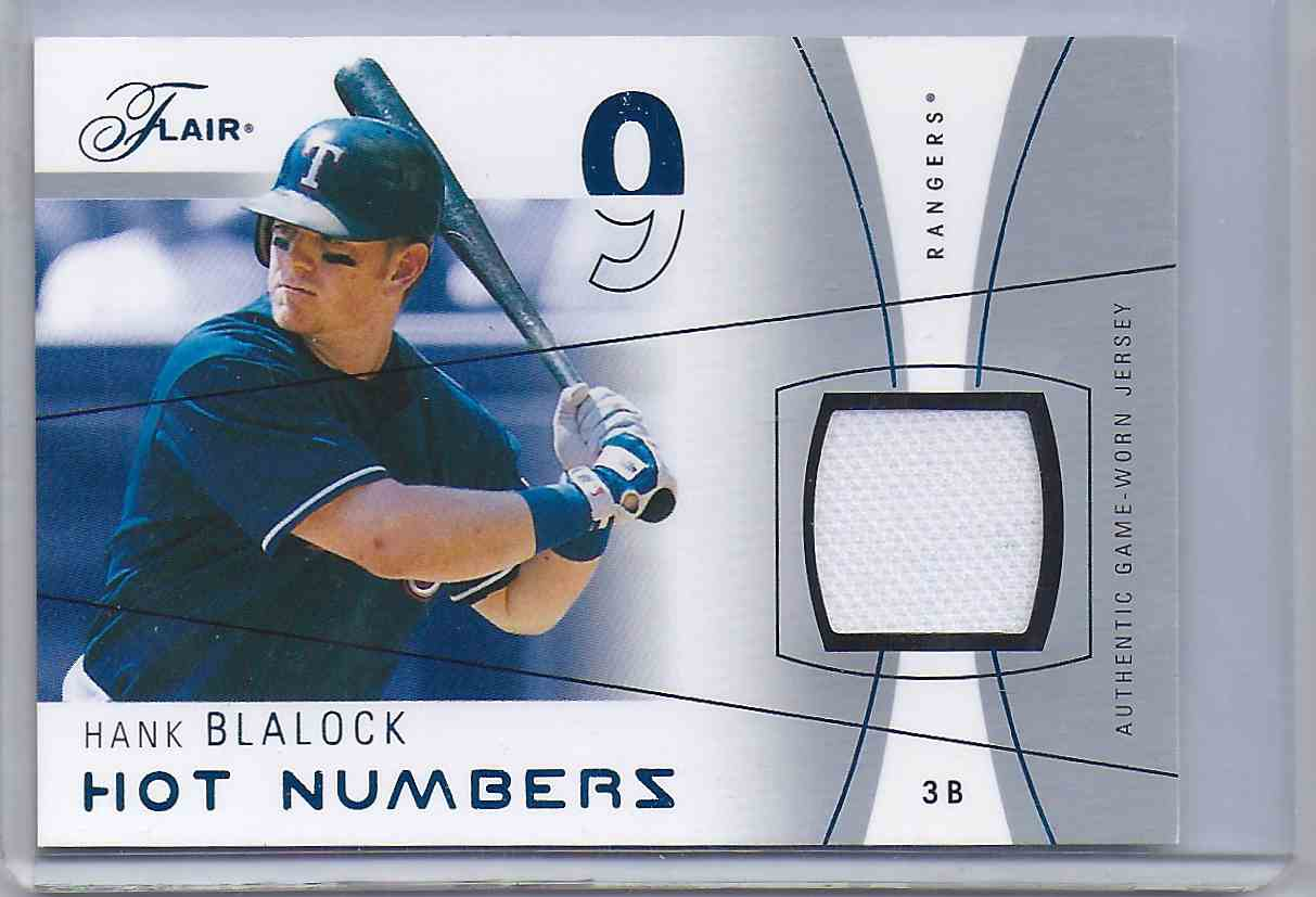 2004 Flair Hot Numbers Game Used Blue Hank Blalock #HB card front image