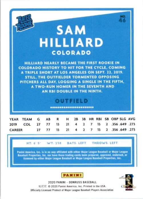 2020 Donruss Sam Hilliard Rr RC #46 card back image
