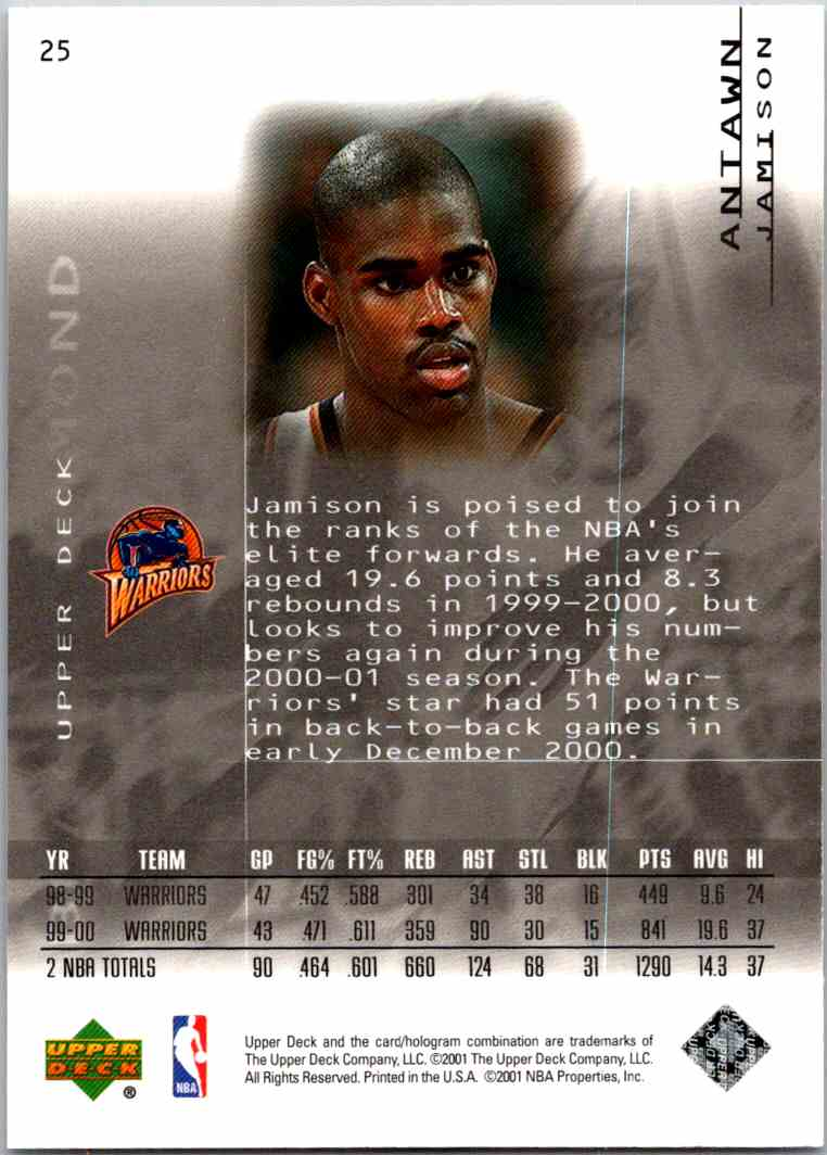 2000-01 Upper Deck Black Diamond Antawn Jamison #25 card back image