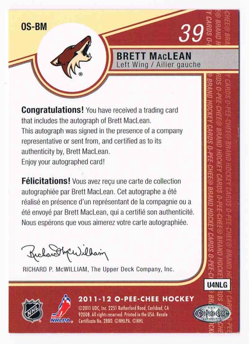 2011-12 O-Pee-Chee Signatures Brett MacLean #OS-BM card back image
