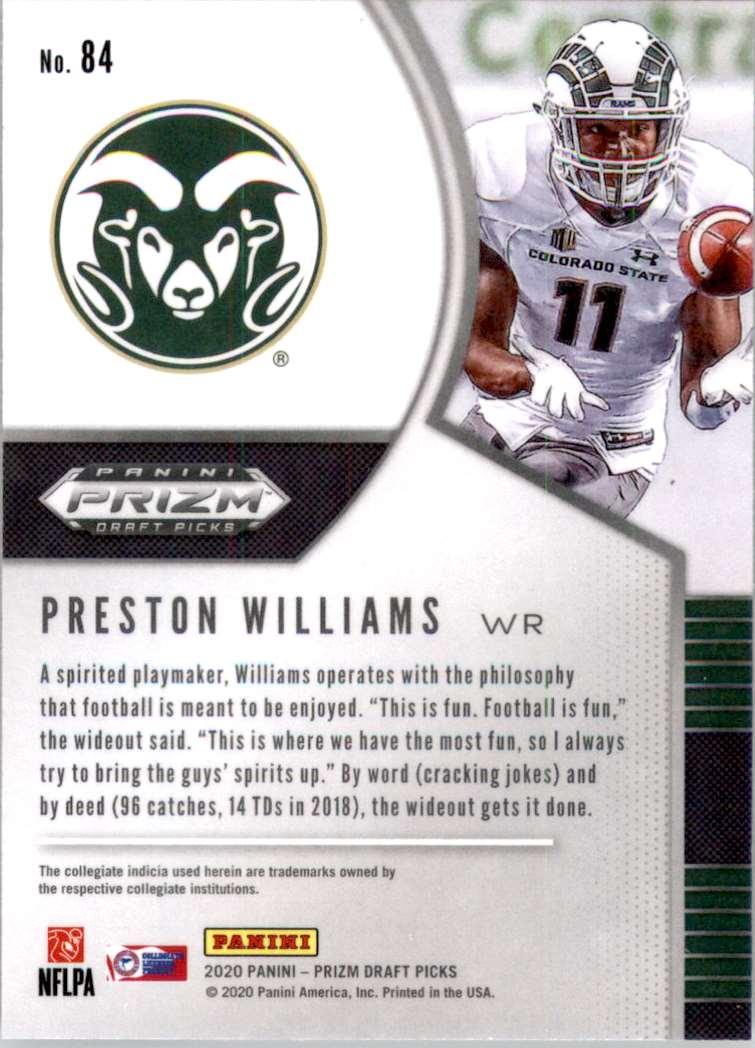 2020 Panini Prizm Draft Picks Preston Williams #84 card back image