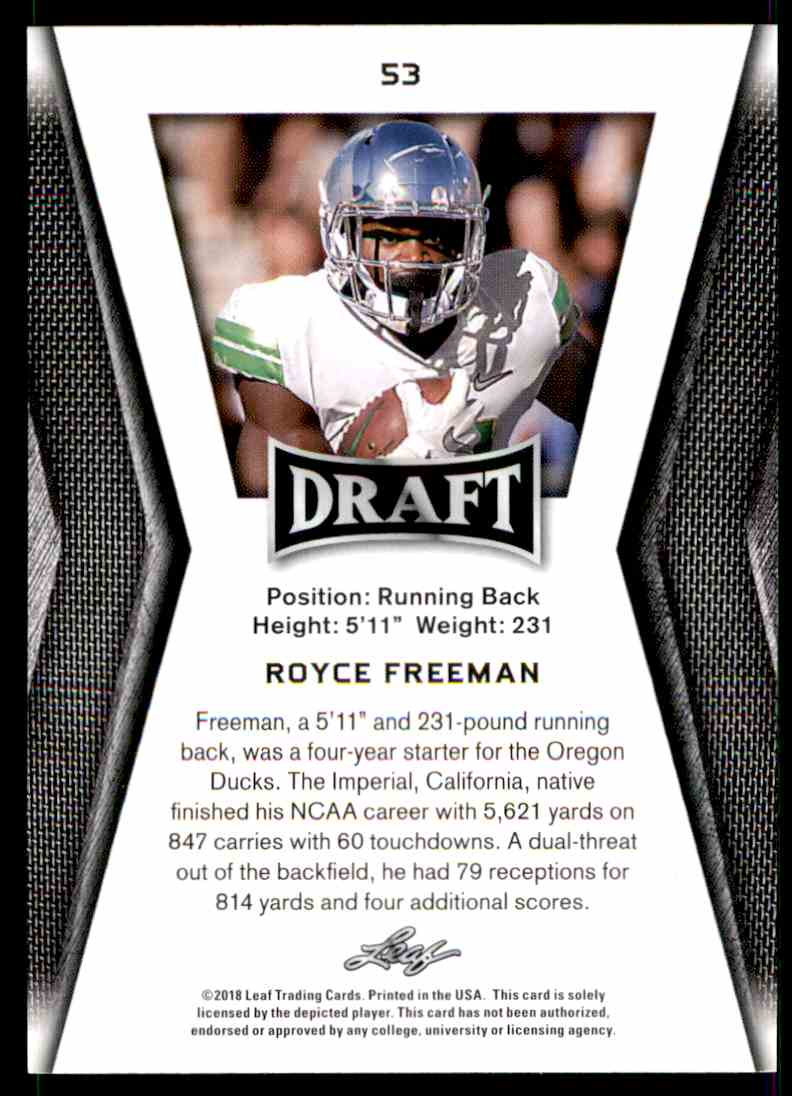 2018 Leaf Draft Royce Freeman #53 card back image