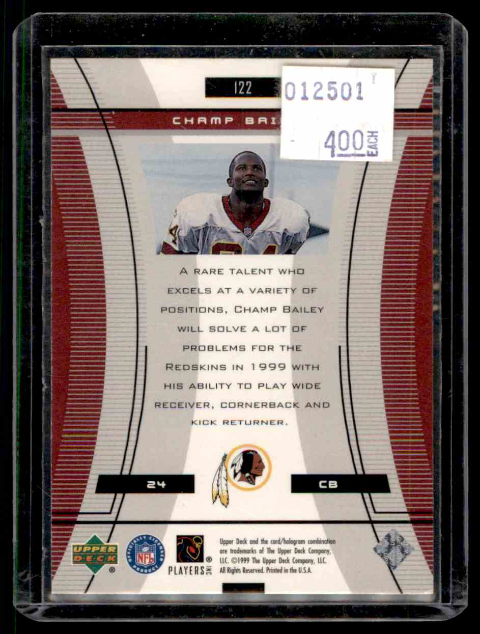 1999 Upper Deck Black Diamond Champ Bailey #122 card back image