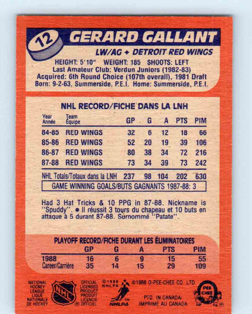 1988-89 O-Pee-Chee Gerard Gallant #12 card back image