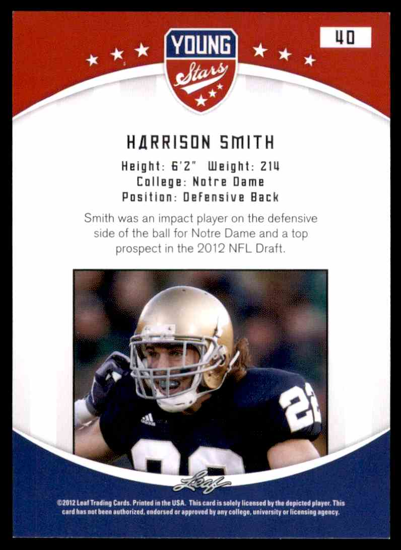 2012 Leaf Young Stars Draft Harrison Smith #40 card back image